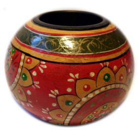 Hand-painted wooden tea light holder