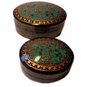 2 hand-painted oval boxes turquoise black & gold