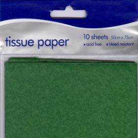 10 sheets tissue paper medium green