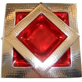 Pair of square bowls with red enamel wells