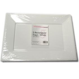 5pk white oblong party food trays