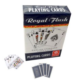 Royal Flush English linen playing cards blue