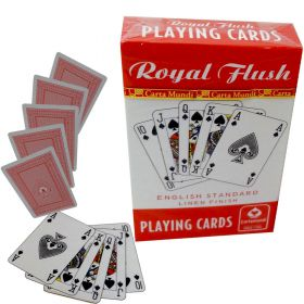 Royal Flush English linen playing cards red