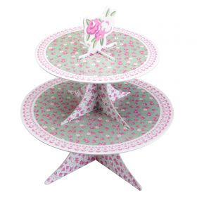 Two tier reversible cardboard cake stand Neviti Thrills and Spills pattern
