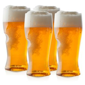 Pack of 4 acetate beer schooners, with a 16 fl oz (0.8 pt) capacity and a thumb groove