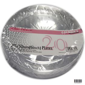 Pk 20 6in starbust clear plastic side plates