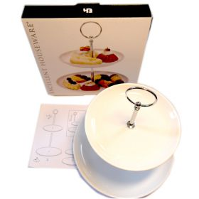 Two tier white porcelain & stainless steel cake stand