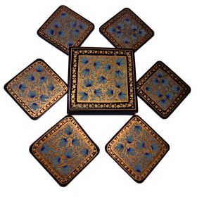 6pk 8.5cm square coasters gold black & blue