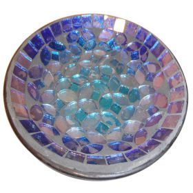 Iron & glass blue mosaic dish