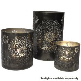 3 cutwork iron tea light holders