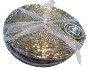 Six silver beaded coasters, tied with a ribbon