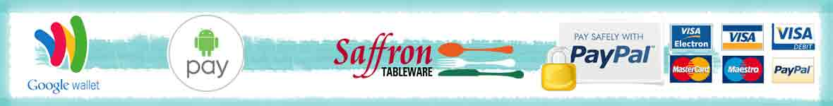 Saffron Tableware offers many different ways to pay, including credit or debit card, Paypal or Google Wallet